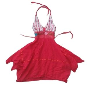 Red Kerchief Dress with Crocheted Halter Top, 3T